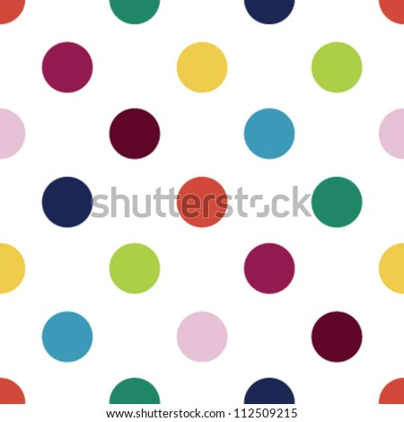 Seamless retro inspired youthful polka dot pattern in candy colors - stock vector