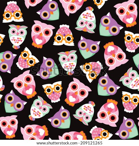 Seamless retro kids owl illustration background pattern in vector - stock vector