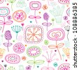 Seamless retro kitchen flowers background pattern in vector - stock photo