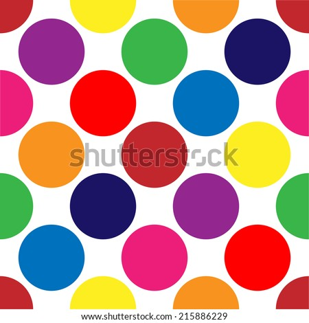 seamless retro large polka dot background - stock vector