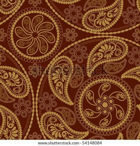 Seamless retro mandala pattern - stock vector