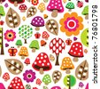 Seamless retro mushroom flower autumn pattern illustration in vector - stock vector