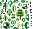 Seamless retro nature organic green leaf tree background pattern in vector - stock vector