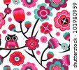 Seamless retro owl flowers decorative background pattern in vector - stock photo
