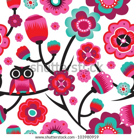 Seamless retro owl flowers decorative background pattern in vector - stock vector