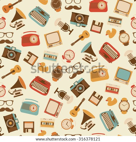 Seamless Retro Pattern - Alarm clock, Typewriter, Guitar, Television, Camera, Floppy Disk, Cassette, Radio, Gramophone, Microphone, Watch- Wallpaper Collection of Retro Devices - stock vector