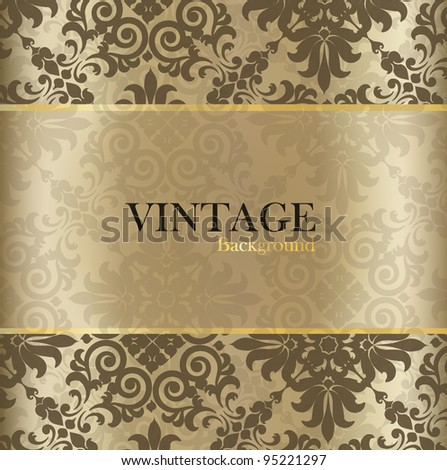 Seamless retro pattern background with golden vintage label. Vector illustration.