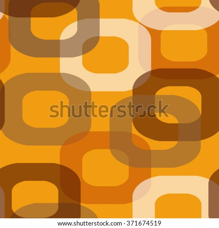 Seamless retro pattern donut shape in brown and orange - stock vector