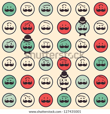 Seamless retro pattern. Texture with funny faces.Seamless pattern can be used for wallpaper, pattern fills, web page background,surface textures. Gorgeous seamless background - stock vector