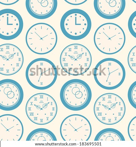 Seamless retro pattern texture with round clocks. Vintage time background - stock vector