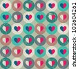 Seamless retro pattern. Texture with threadbare circles and hearts. - stock photo