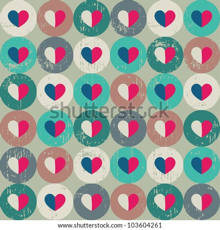 Seamless retro pattern. Texture with threadbare circles and hearts. - stock vector