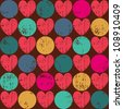Seamless retro pattern. Texture with threadbare hearts. Vector version. - stock vector