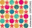 Seamless retro pattern. Texture with threadbare stars. Vector version. - stock vector
