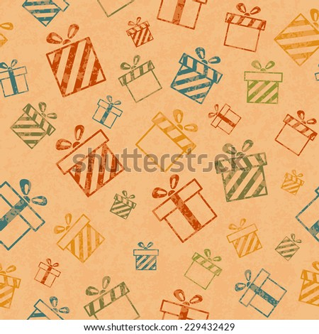 Seamless retro pattern with gift boxes. Vector illustration EPS10 - stock vector