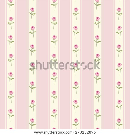 Seamless retro pattern with shabby chic roses on striped background ideal for kitchen textile or bed linen fabric or interior wallpaper design - stock vector