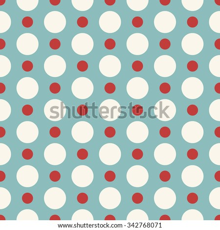 Seamless retro pattern with white and red polka dots on blue background  - stock vector