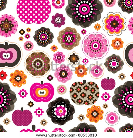 Seamless retro pink flowers and apples pattern background in vector - stock vector