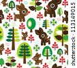 Seamless retro reindeer kids christmas tree background pattern in vector - stock vector