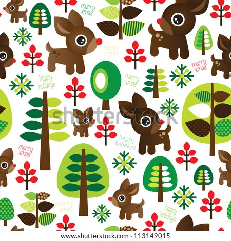 Seamless retro reindeer kids christmas tree background pattern in vector - stock vector