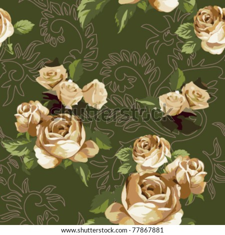 Seamless retro rose pattern on curly leaves background,vector - stock vector