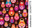 Seamless retro Russian Doll illustration cover design background pattern in vector - stock vector