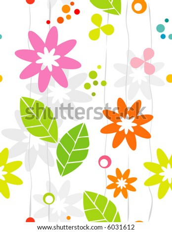 Seamless Retro-stylized Floral Background. Tileable, seamless easy-edit layered vector file. - stock vector