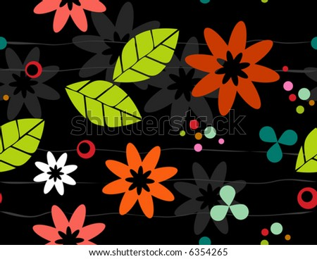 Seamless Retro-stylized Floral on Black Background. Tileable, seamless easy-edit layered vector file. - stock vector