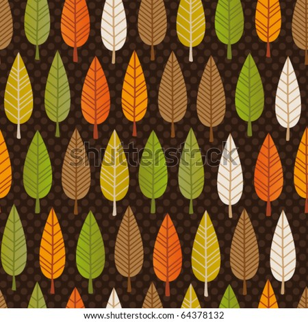 Seamless retro tree pattern with forest illustration in vector - stock vector