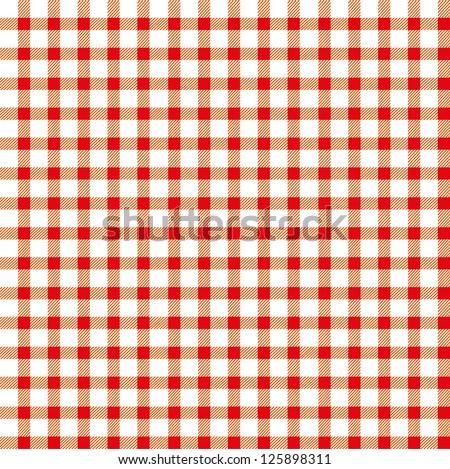 Seamless retro white-red square tablecloth - stock vector
