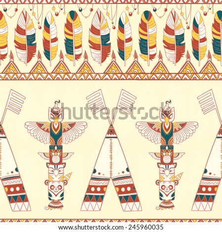 Seamless rhombus background. Endless geometric pattern. Native American indigenous ornamental seamless pattern background with feathers and totem poles.