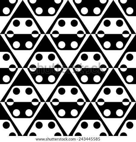 Seamless Rhombus, Hexagon and Circle Pattern. Vector Geometric Background. Regular Black and White Texture