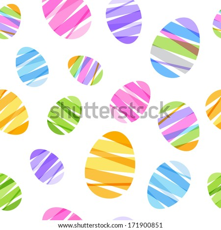Seamless ribbon-wrapped Easter eggs pattern. Decorative texture. Good for Easter design. - stock vector