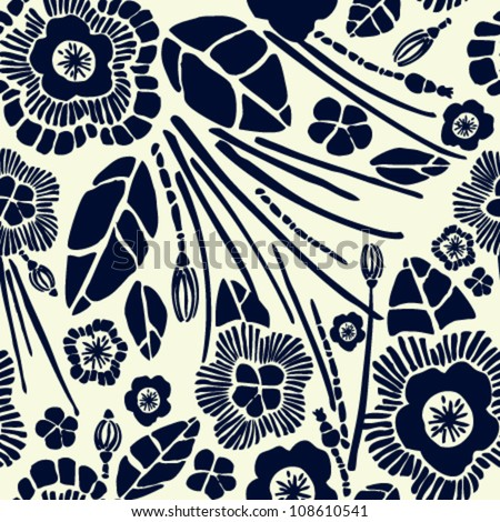 Seamless rich floral pattern. Velvet effect texture with black summer flowers on yellow retro background - stock vector