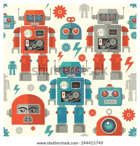seamless Robot face pattern,cartoon vector illustration - stock vector