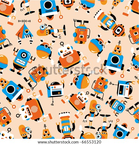 seamless robot  pattern - stock vector
