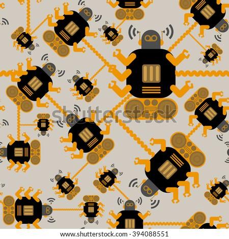 seamless Robot pattern,cartoon vector illustration - stock vector
