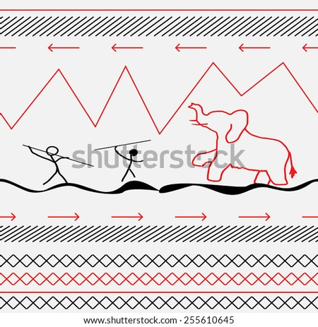 Seamless rock painting of a mammoth black and red. Vector illustration - stock vector