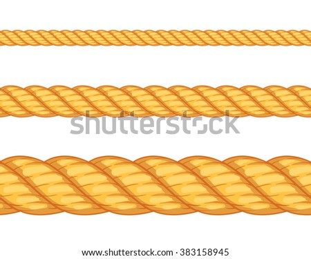 Seamless rope. Top view. Vector illustration. Isolated on white background. Set - stock vector