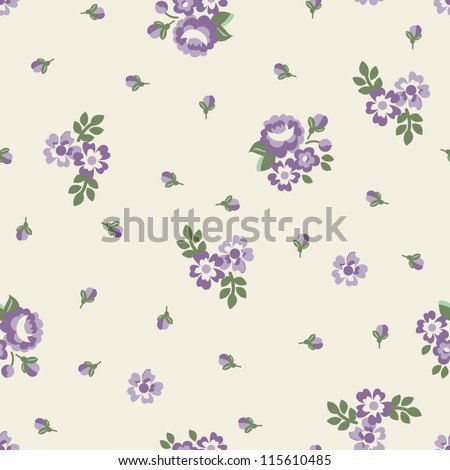 Seamless Rose Floral - stock vector