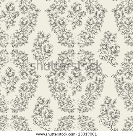 seamless rose pattern- grey - stock vector