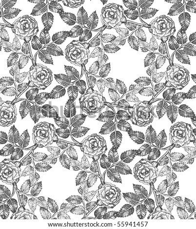 seamless roses pattern black and white - stock vector