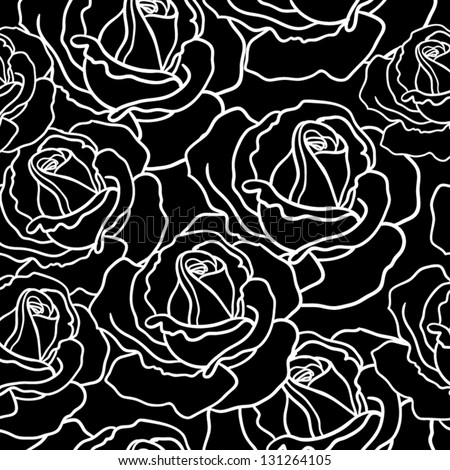 Seamless roses pattern Black and white seamless pattern - stock vector