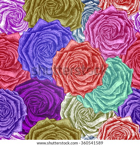 Seamless Roses Pattern. Vector colorful, EPS 10 - stock vector