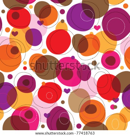 Seamless round retro bubbles kids pattern in vector - stock vector