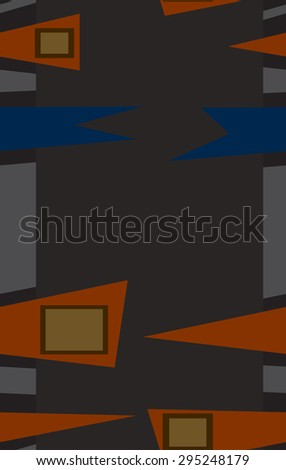 Seamless rows of abstract orange and blue fence patterns;