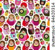 Seamless russian doll illustration background pattern in vector - stock vector