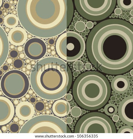 Seamless 1960's psychedelic disc pattern in two camouflage color variations