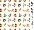seamless sailboat pattern - stock photo