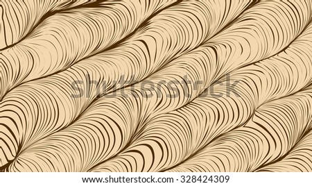 Seamless salient sinuous warp op volumetric form tracery light beige color with dark brown strokes. Irregular art billowy curvy crimp deform grid fond with lean direction - stock vector